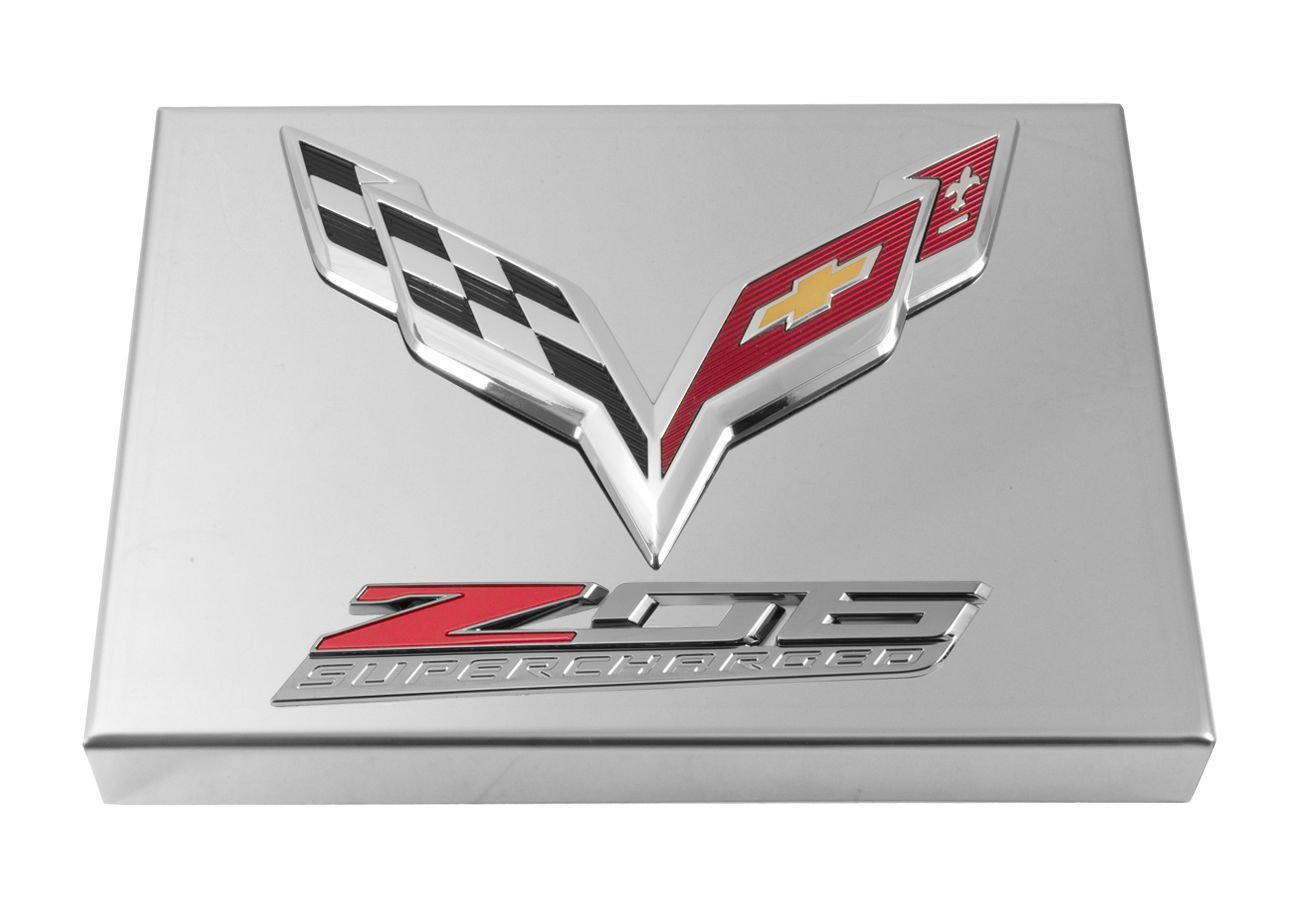 2014 C7 Corvette Polished Fuse Box Cover Chrome Flags Z06 Logo Automotive