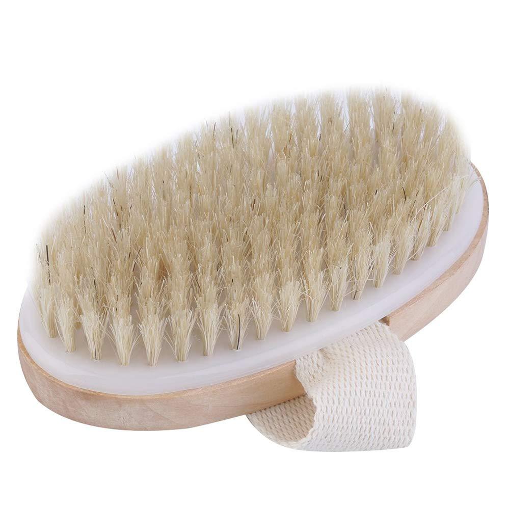 Slendima 4.72'' x 2.56'' Dry Skin Body Brush Natural Bristle Brush with Soft Handle Pouch Brush SPA Brush