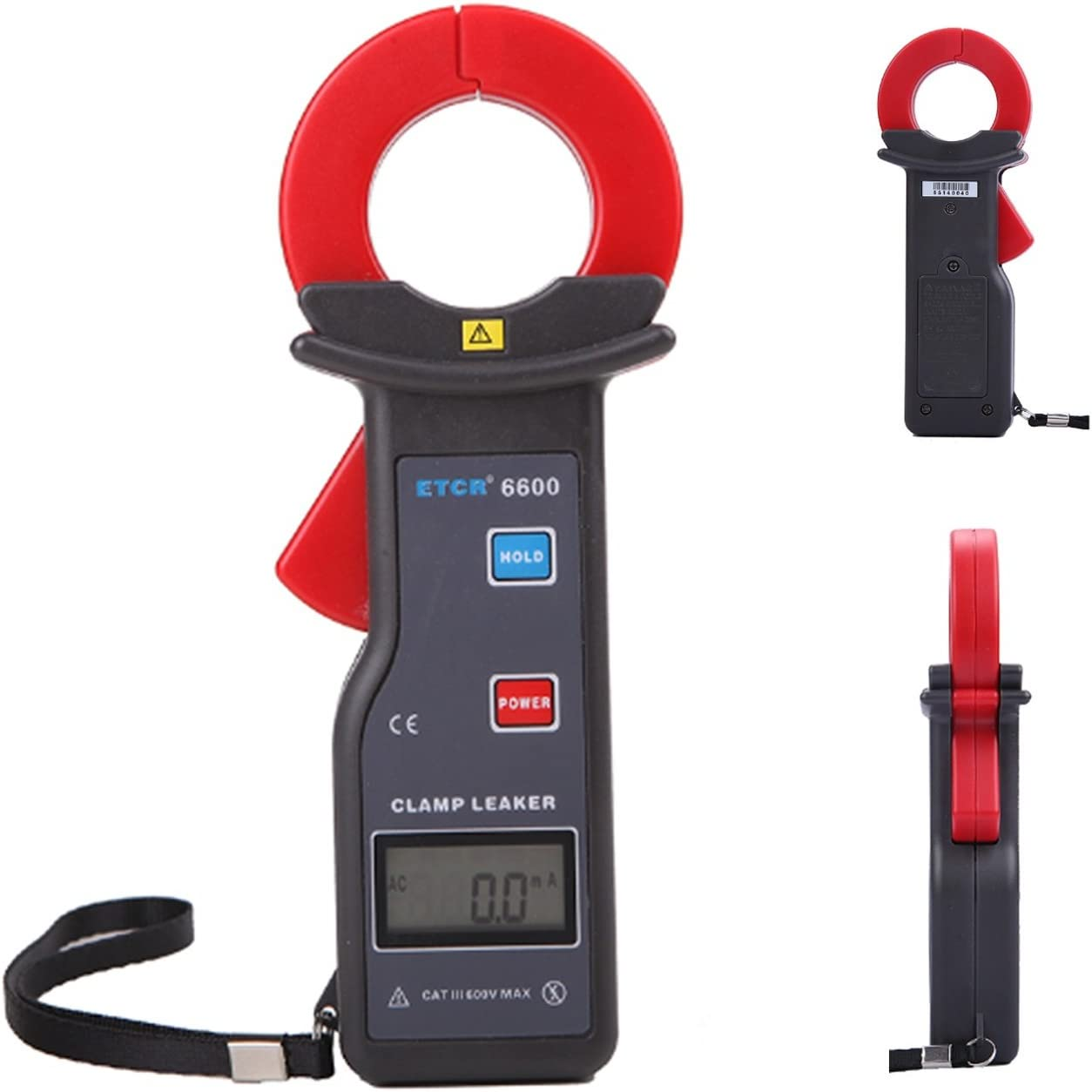 Jaw Size 35X40mm Clamp Leakage Current Meter AC Current Measurement Range AC 0.00mA to 300.0A with RS232 Interface Data Upload Function Data Storage 99 Groups ETCR6600
