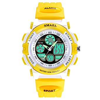 Amarillo Niños Niñas Impermeable Doble movimiento niños analógico reloj digital: Amazon.es: Relojes