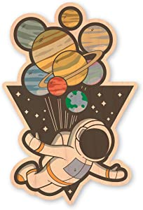 Dust City Wood Stickers Up in Space Sticker (Maple)