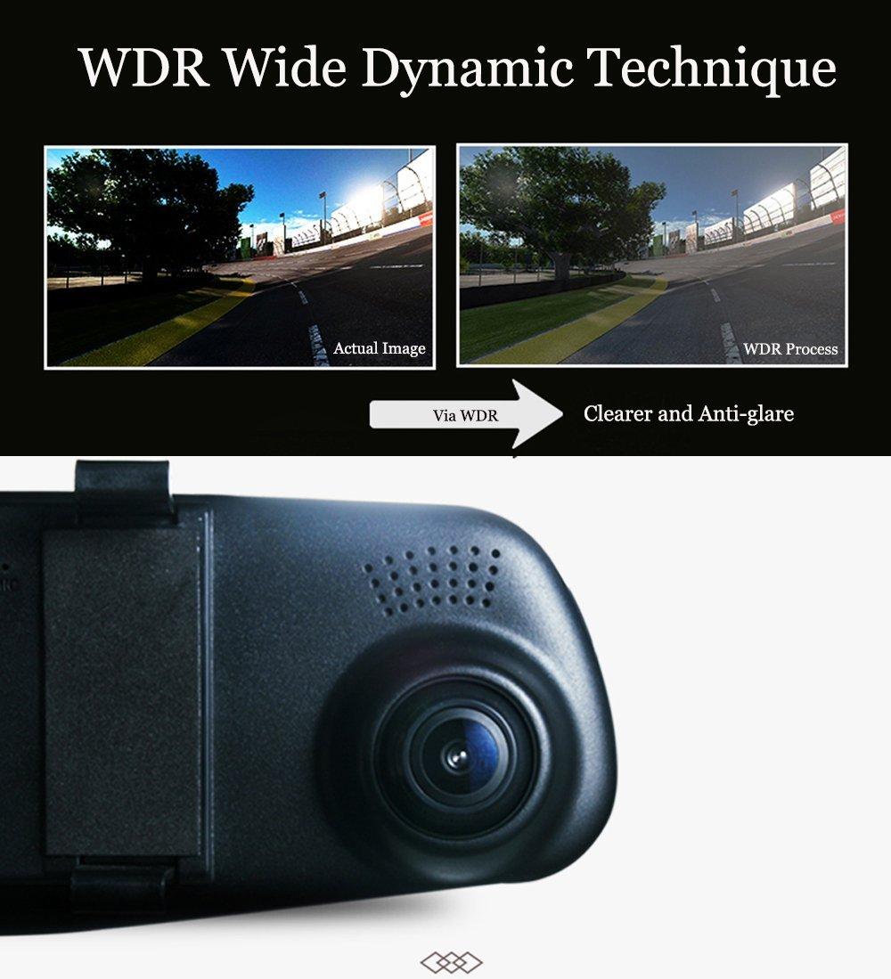 140 /° Grand Angle DVR Prend en G-Sensor,Mode de Stationnement-Carte SD 8GB Incluse Dash Cam /Écran de 4.3 Pouces Full HD 1080P Cam/éra Avant /à Double Lentille de Voiture XISEDO Cam/éra de R/étroviseur