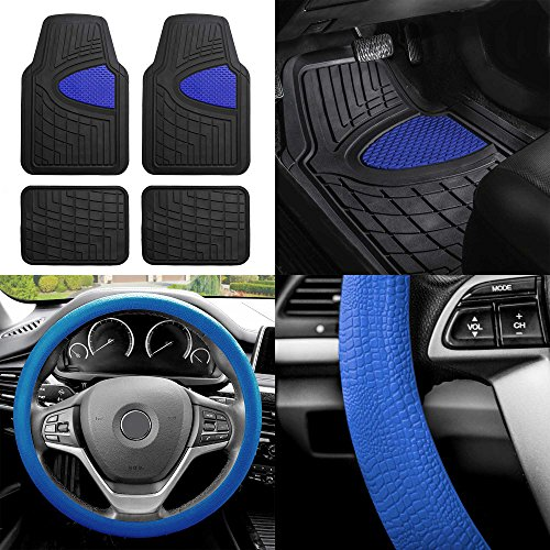 (FH Group FH-F11311 Premium Tall Channel Rubber Floor Mats w. FH3001 Snake Pattern Silicone Steering Wheel Cover, Blue/Black Color)