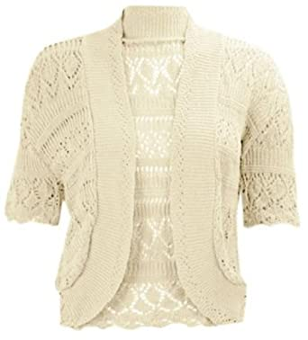 Crochet Cap Sleeves Knitted New Ladies Bolero Short Cardigan Shrug Crop TOP 8-26