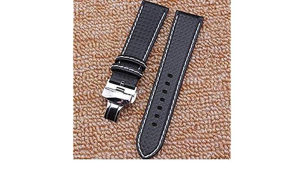 Amazon.com: Jewh New Mens Black Carbon Fiber Watch Band ...