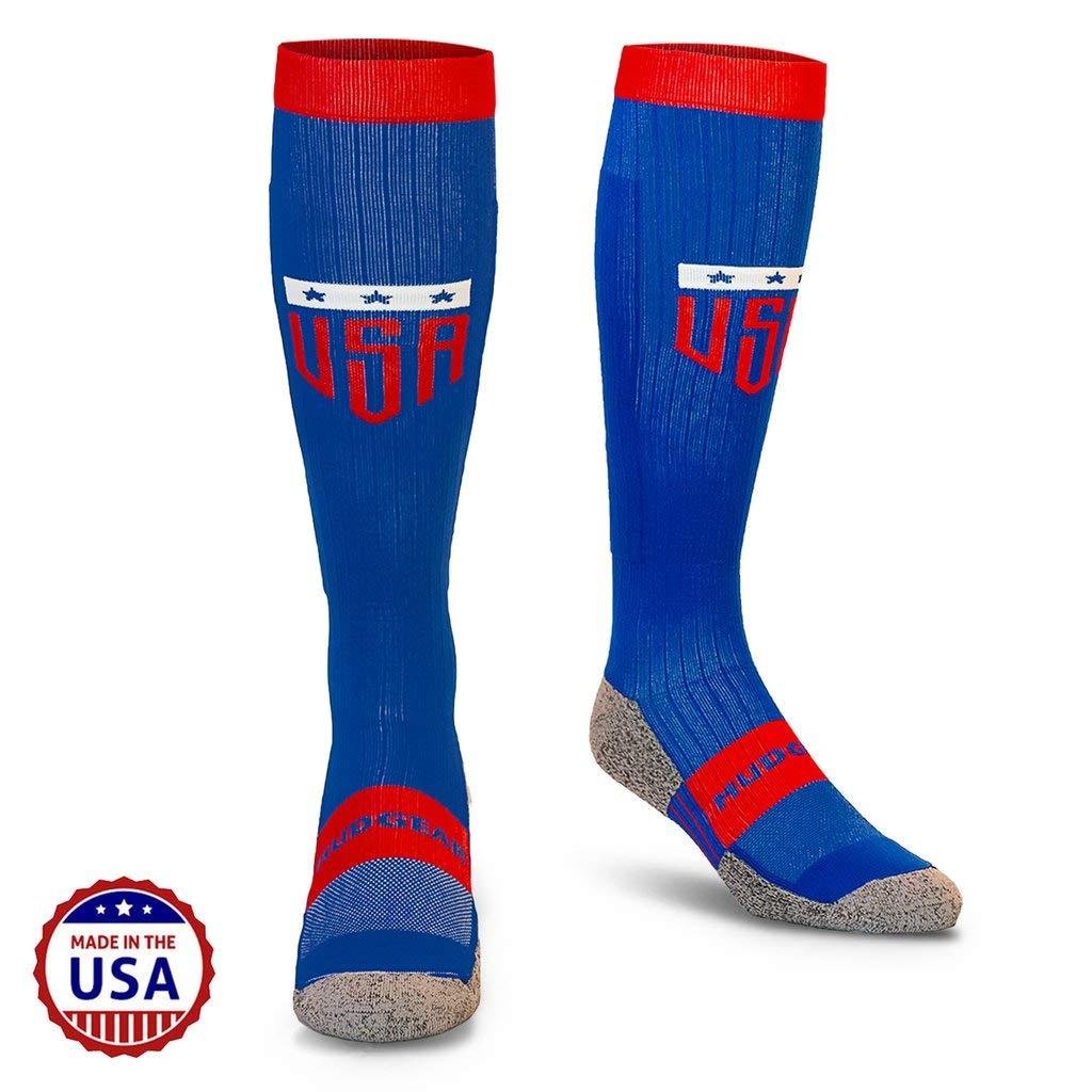 MudGear USA Compression Socks - Men's and Women's Patriotic Running (1 Pair) by MudGear