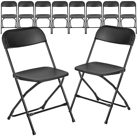 HERCULES Series 650 lb Flash Furniture 10 Pk Capacity Premium Black Plastic Folding Chair