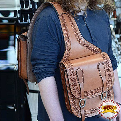 HILASON WESTERN TAN BORDER HAND TOOL LEATHER SADDLE SHOULDER BAG by HILASON