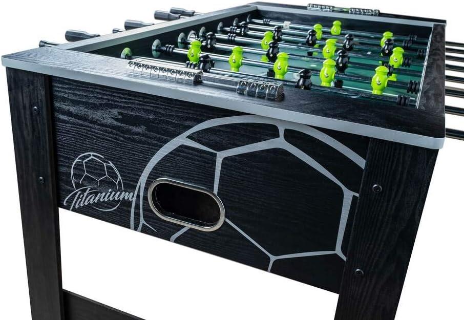 Devessport - Futbolín Titanium Black Ideal para Jugar con Amigos - Gran tamaño - Patas con Mayor Estabilidad - Barras de Metal - Mango de plástico - Retorno de Bolas - Medidas: