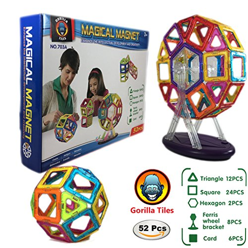 Tactile Playing Mat (Magnetic Building Blocks Tiles Set for Kids- 52 Piece Kit Includes Ferris Wheel, Fascinating Shapes Inspire Creative Confidence, Safe for Girls and Boys Age 3 years +)