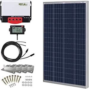 HQST 100 Watt 12 Volt Polycrystalline Solar Panel Kit with 20A 12/24V MPPT Solar Charge Controller, 20Ft 12AWG Panel and Controller Connector Cables, Z-Brackets,LCD Display