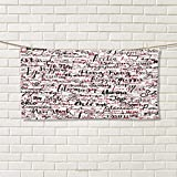 Chaneyhouse Modern,Hair Towel,Ink Handwritten Popular Country Capitals with Fashion Fancy Words Artwork,Quick-Dry Towels,Red Black and White Size: W 8'' x L 23.5''