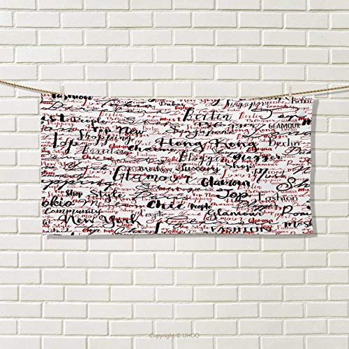 Chaneyhouse Modern,Hair Towel,Ink Handwritten Popular Country Capitals with Fashion Fancy Words Artwork,Quick-Dry Towels,Red Black and White Size: W 8'' x L 23.5'' by Chaneyhouse (Image #1)