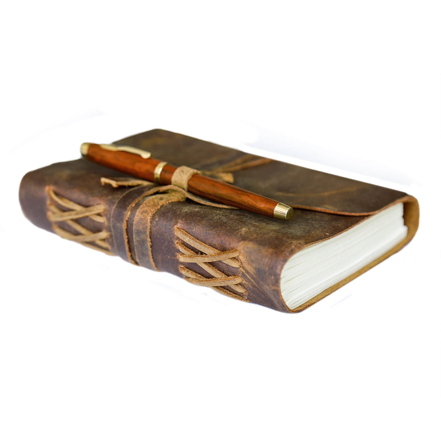 LEATHER JOURNAL WITH WOODEN PEN | PEN HOLDER | Vintage Writing Scrapbook | Handmade Leather Bound Diary | Notebook For Food & Exercise Planning, Sketches, Thoughts, Weight Watchers