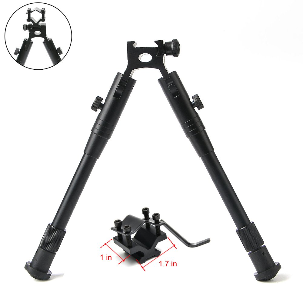 bestsight Tactical Foldable Bipod for Rifle 20mm Picatinny Rail with Rifle Barrel Mount Adjustable Height 7.5-9.2 inches Hunting Black