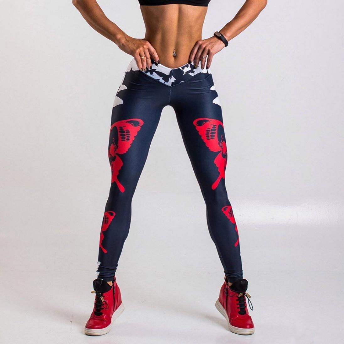 03d844b638f89 Amazon.com: Gillberry Women Sports Gym Yoga Workout Mid Waist Running Pants  Fitness Elastic Leggings: Clothing