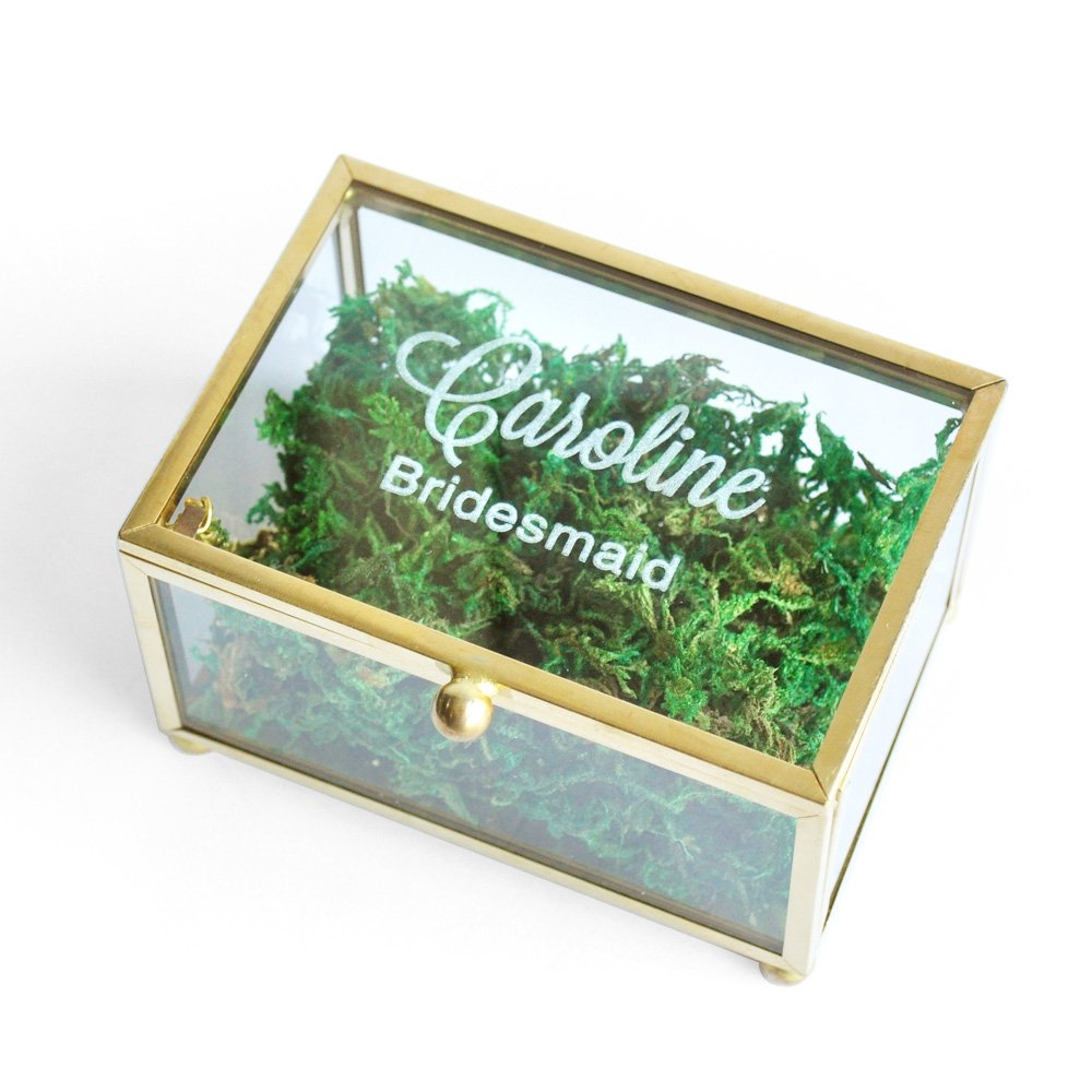 Personalized Glass Ring Box Bridesmaid Gift, Bridesmaid Jewelry Box Custom Wedding Ring Box Geometric Ring Pillow