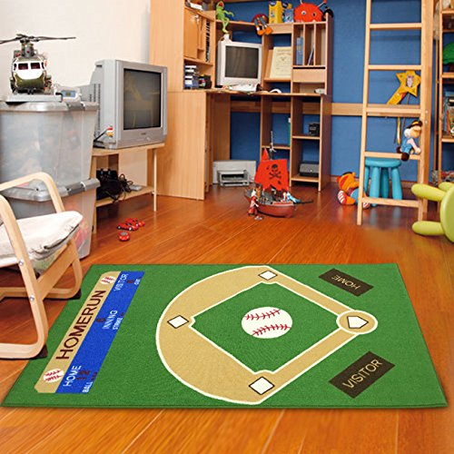 "Dalyn Rug All Stars Baseball Ground Kids Rug Rug Size: 3'3"" x 5'"