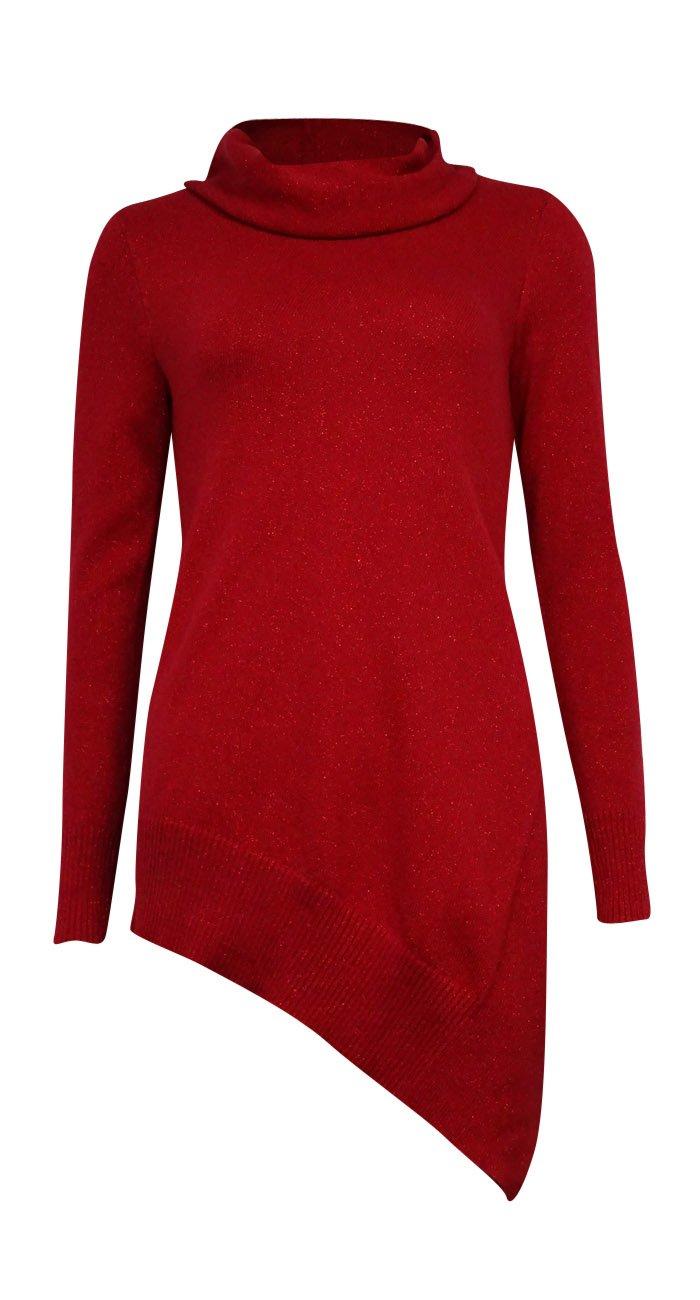 Alfani Womens Metallic Asymmetric Pullover Sweater Red M