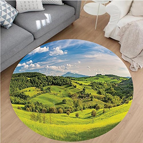 Nalahome Modern Flannel Microfiber Non-Slip Machine Washable Round Area Rug-m Decorations Tuscany Italy Sunlight Homestead Plantation Farms Pathway Greenery Picture area rugs Home Decor-Round 43