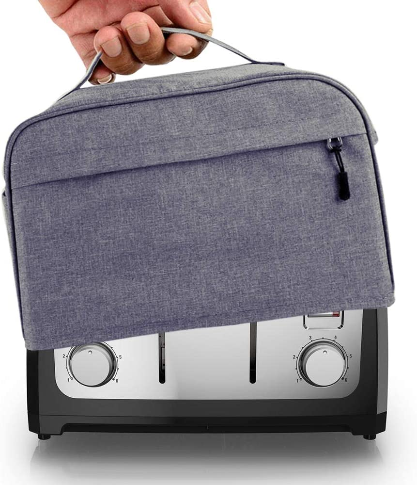 Hsonline 4 Slice Toaster Cover, with Zipper & Open Pockets Hold Spreader Knife & Toaster Tongs, Dust and Fingerprint Protection Kitchen Small Appliance Cover, Machine Washable, Grey, 12.5x10x8 inches