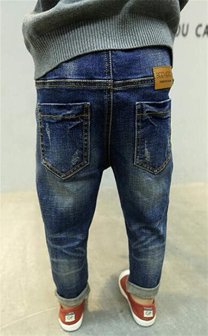 Wofupowga Boys Stylish Jeans Denim Cute Slim Ripped Patch Pants