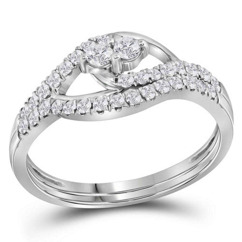 10kt White Gold Womens Round Diamond 2-Stone Bridal Wedding Engagement Ring Band Set 1/2 Cttw