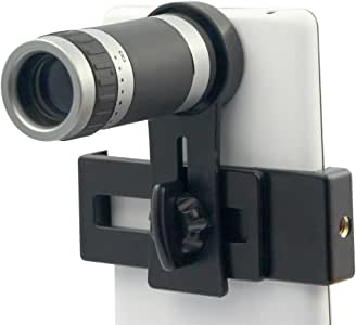 Universal 8x18 Optical Zoom Lens Micro Mobile Phone Lens Telescope Camera with Holder for iPhone Samsung HTC Android Smartphones (Black)