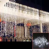 AGPtek 15Mx3M 1664LED Linkable Fairy Curtain Lights Strings Connectable Lights 8 Lighting Modes for Wedding Ceremony Christmas Party Home Decoration Holiday Celebration-White