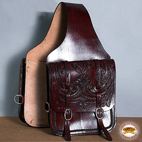 HILASON Western Leather Cowboy Trail Horse Saddle Bag 12 X 11 X 3.5 Inch