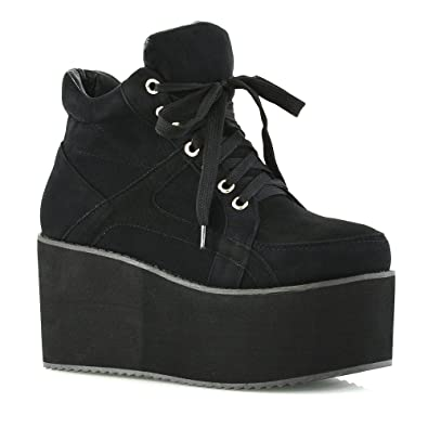 ca632d74ec5 Ladies Chunky Cleated Sole Womens Platform LACE UP Goth Punk Ankle Boots  Shoes Size 3 4 5 6 7 8