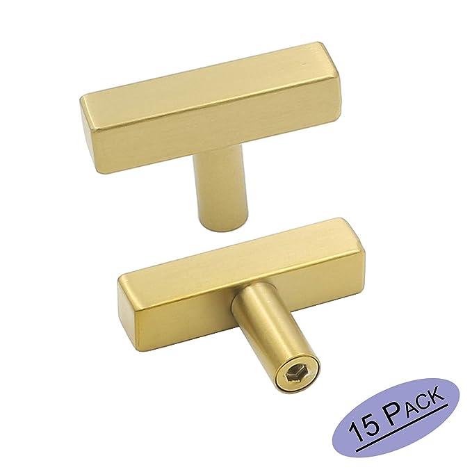 goldenwarm Gold Cabinet Knobs Single Hole Furniture Hardware 15Pack - LS1212GD Brass Knobs for Bathroom Cabinets Gold Drawer Knobs Square T Bar Hardware 2