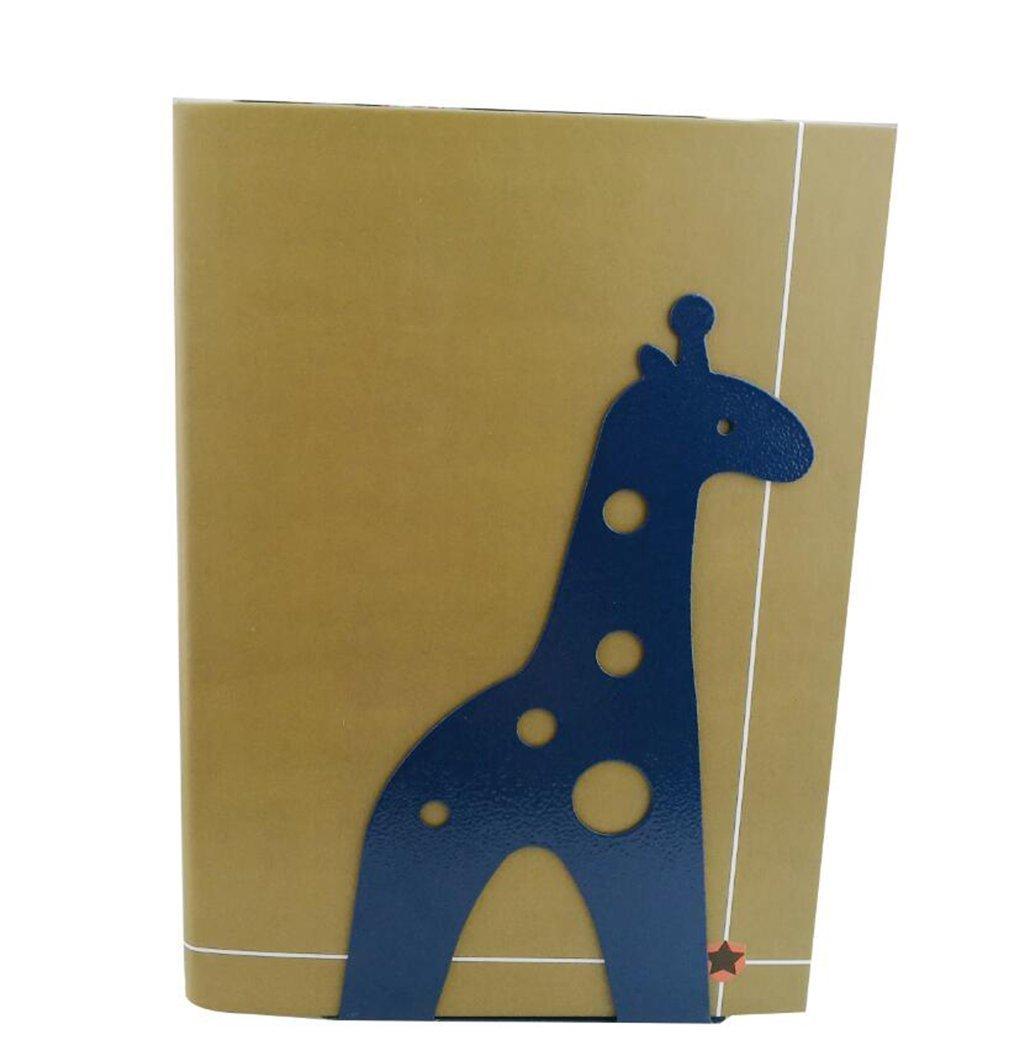 Cute Cartoon Giraffe Shape Nonskid Metal Bookends for Kids Gift Decoration Blue
