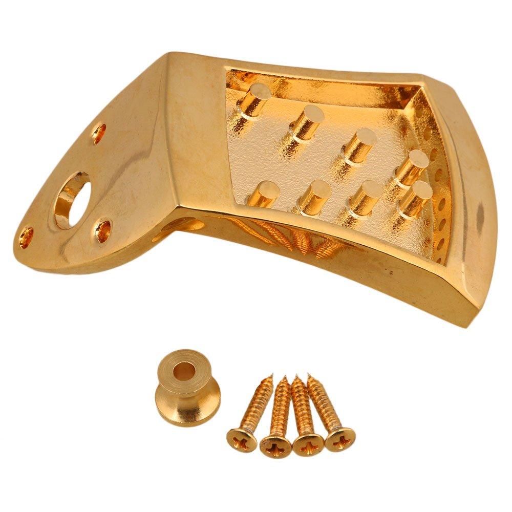 Yibuy 75x45x9mm Golden Metal Triangle Mandolin Tailpiece Parts for 8 String Mandolin Guitar with Screws etfshop M7170724003