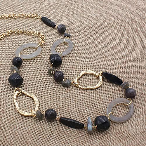 31c4704e4052 Conjuntos de collar y aretes de bisutería 14 K chapado en oro cadena de eslabones  2 capas de cristal de madera acrílico colorido partido mujeres collar ...