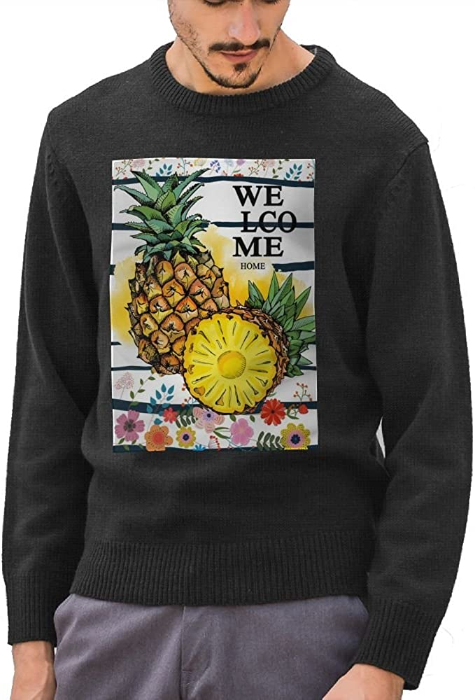 Mr.Roadman Mens Welcome Pineapple Funny Logo DIY Design Pattern Funny O-Neck Sweater Jumpers Pullover
