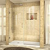DreamLine Unidoor Plus 57 1/2-58 in. Width, Frameless Hinged Shower Door, 3/8'' Glass, Brushed Nickel Finish