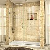 DreamLine Unidoor Plus 57 1/2-58 in. Width, Frameless Hinged Shower Door, 3/8'' Glass, Brushed Nickel Finish