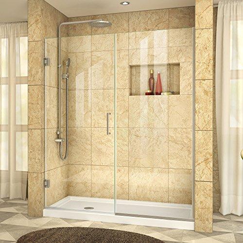 DreamLine Unidoor Plus 57 1/2-58 in. Width, Frameless Hinged Shower Door, 3/8'' Glass, Brushed Nickel Finish by DreamLine