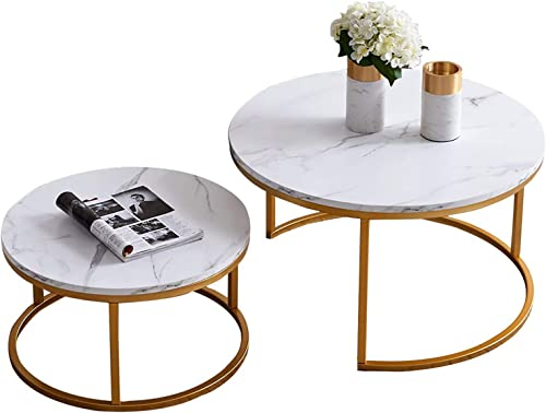 YKLWORLD Set of 2 Modern Nesting Round Coffee Table - the best living room table for the money