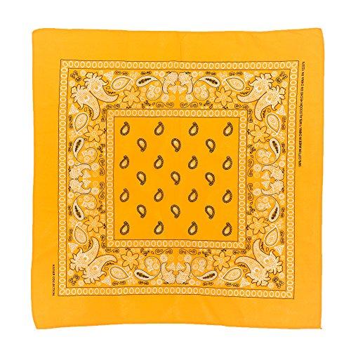 Novelty Scarf Bandanas Paisley Cotton Bandanas Head Wrap Wristband Single Pack (Gold) -
