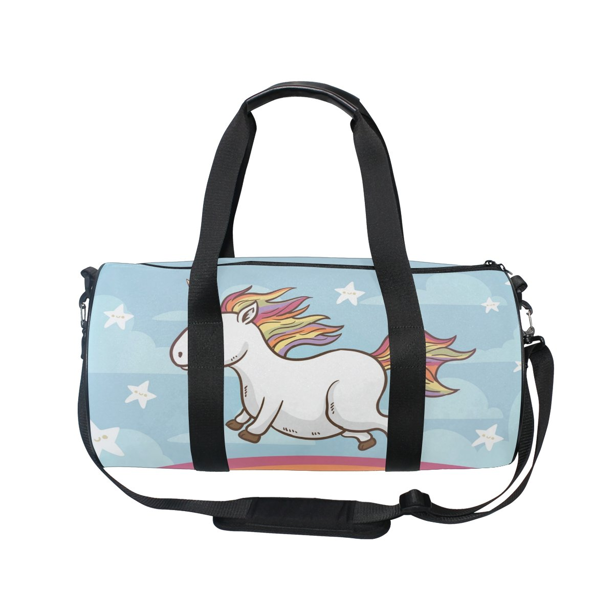 COOSUN Happy unicornio en el arco iris bolsa de lona del hombro de Handy Deportes Gimnasia Bolsas para hombres y mujeres Medio Multicolor: Amazon.es: ...