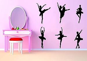 Beautiful Ballet Ballerina Wall Decal,Removable Dancing Ballet Girls Wall Sticker for Dancing Room Women Bedroom Vinyl Wall Decals,Black