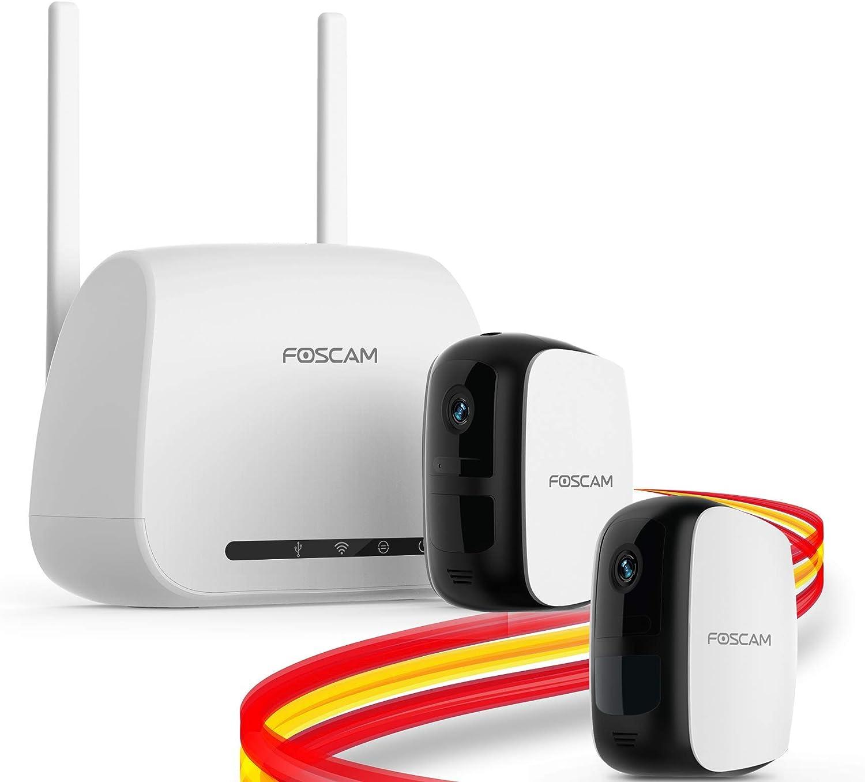 Foscam E1 Sistema sin Cables - Cámara IP WiFi a batería con grabación en la Nube Gratis, 1080P HD, detección, Seguridad, visión Nocturna, Audio bidireccional, Uso en Interiores/Exteriores (Pack-2)