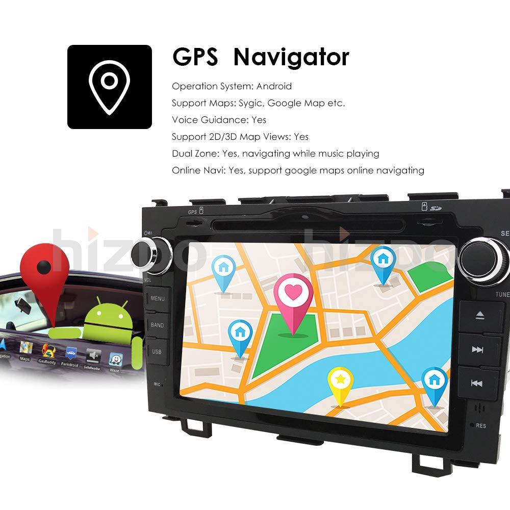 hizpo Android 9.0 Car Radio for Honda CRV CR-V 2007 2008 2009 2010 2011 8 inch DVD Player WiFi GPS Navigation Stereo Bluetooth + Camera