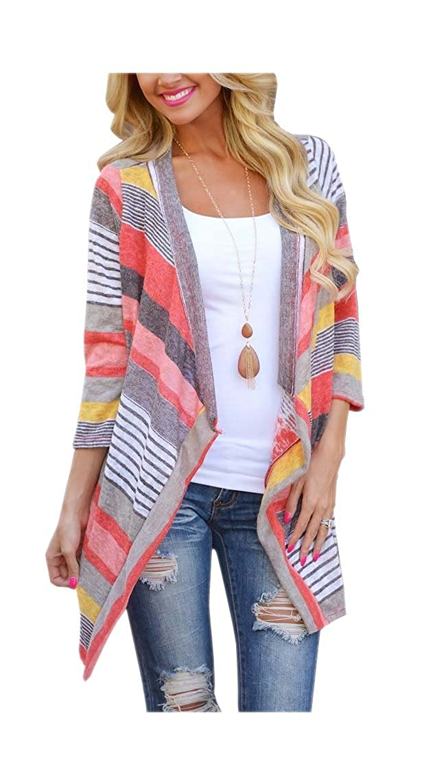 ARJOSA Women's Geometric Color Block 3/4 Sleeve Open Front Cardigan Shirt Top