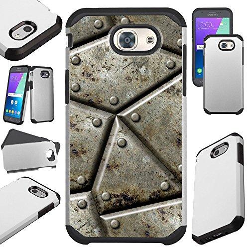 3 (2017) / J3 Emerge / J3 Mission / J3 Eclipse / J3 Luna Pro / J3 Prime / Sol 2 / Amp Prime 2 / Express Prime 2 Case Hybrid TPU Fusion Phone Cover (Metal Shell Print) (Rubber Like Texture Shell)