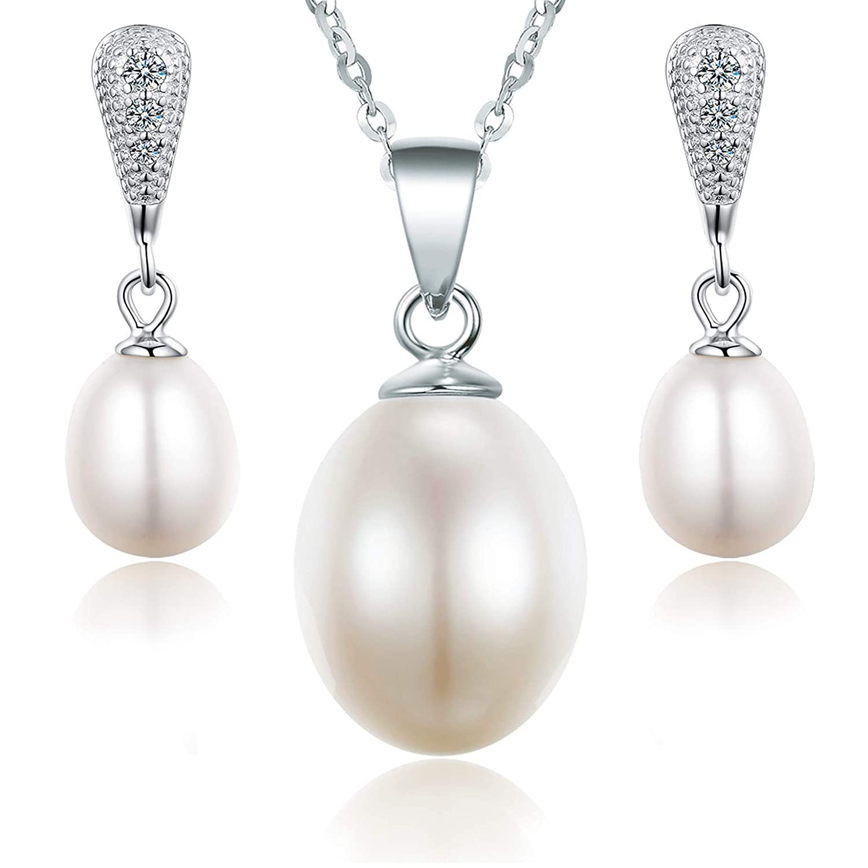 Parure colliers et boucles d/'oreilles assorties Perle de culture d/'eau douce Oxyde de zirconium Bo/îte cadeau