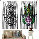 DuckBaby Printed Curtain Hamsa Hand Drawn Symbols with Flourishing Lotus Flowers Ancient Protection Power Icons Tie Up Window Drapes Living Room W55 xL63 Multicolor