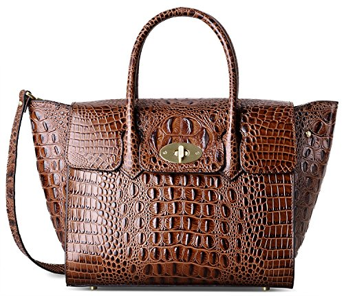 PIFUREN Fashion Women Handbags Leather Crocodile Purse Top Handle Satchel Bags C68732L(Brown) by PIFUREN
